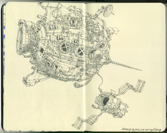 New Sketchbook Illustrations From Mattias Adolfsson: angling.jpg