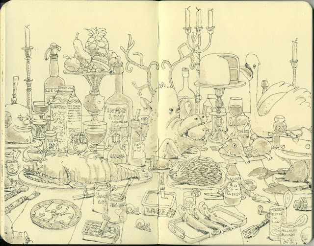 New Sketchbook Illustrations From Mattias Adolfsson: buffet.jpg
