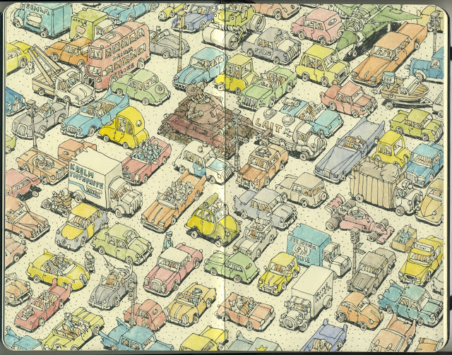 New Sketchbook Illustrations From Mattias Adolfsson: crowded.jpg