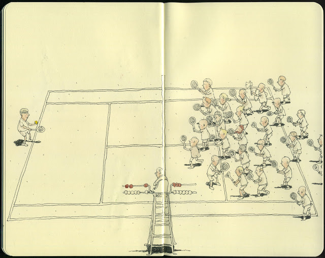 New Sketchbook Illustrations From Mattias Adolfsson: firstserve.jpg
