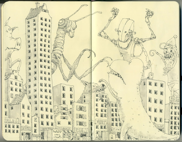 New Sketchbook Illustrations From Mattias Adolfsson: godzilla.jpg