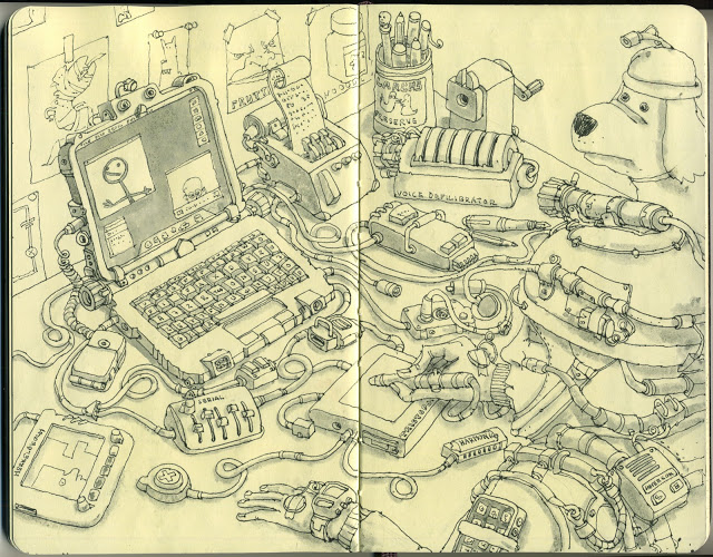 New Sketchbook Illustrations From Mattias Adolfsson: motors.jpg