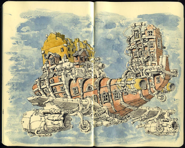 New Sketchbook Illustrations From Mattias Adolfsson: new-baroque-airplane-1.jpg