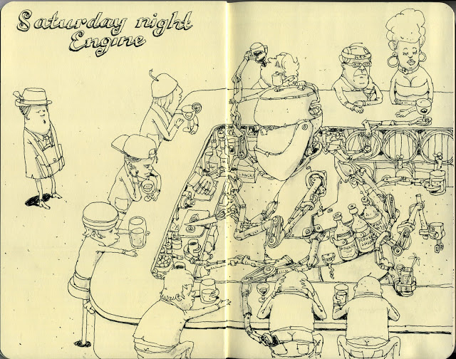 New Sketchbook Illustrations From Mattias Adolfsson: saturdaynight.jpg