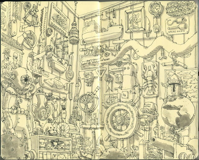 New Sketchbook Illustrations From Mattias Adolfsson: shoppe.jpg