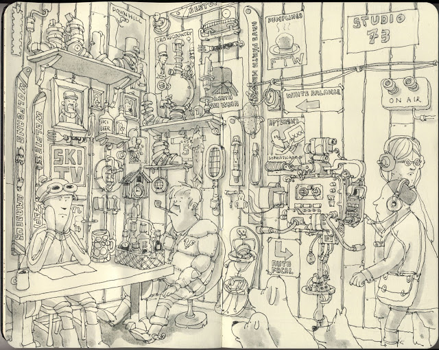 New Sketchbook Illustrations From Mattias Adolfsson: skitv.jpg
