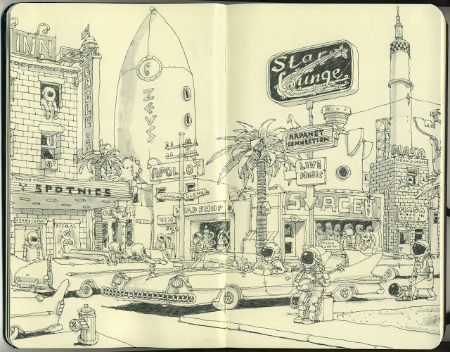 New Sketchbook Illustrations From Mattias Adolfsson: space-coast.jpg