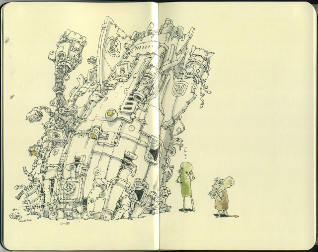 New Sketchbook Illustrations From Mattias Adolfsson: sundaydriver.jpg