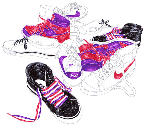 Carine Brancowitz's Ballpoint Pen Illustrations: 5_personal-work-shoes1.jpg