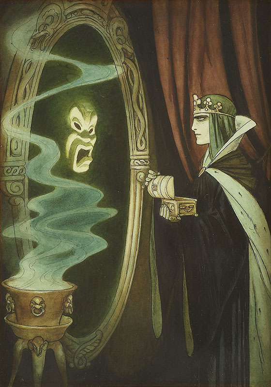 Concept Art Legend Gustaf Tenggren: Gustaf Tenggren-Queen and the Magic Mirror, mixed media on paper, 1938.jpg