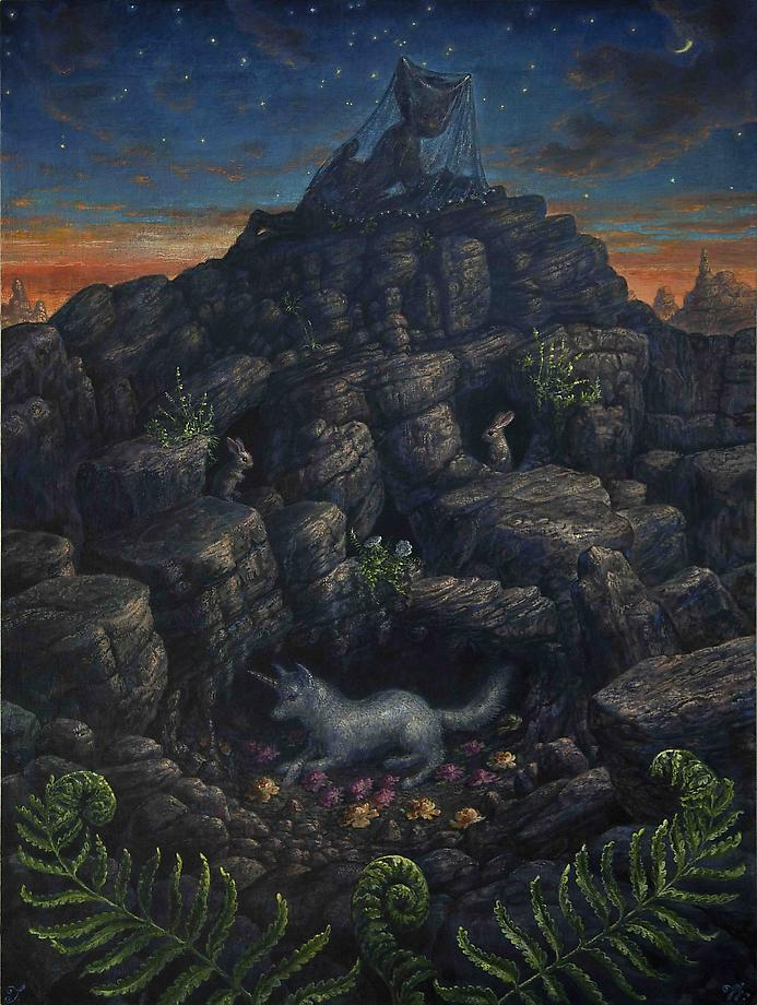 "Thomas Woodruff ""Legends of the Mysterious Rocks"" @ Mark Moore Gallery, Culver City: Evening_of_a_Faun41x31.jpg"