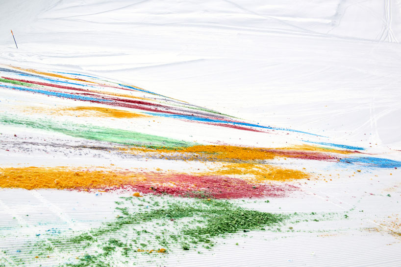 Olaf Breuning Colors The Mountain: olaf-breuning-paints-a-mountain-for-snow-drawing-designboom-06.jpg