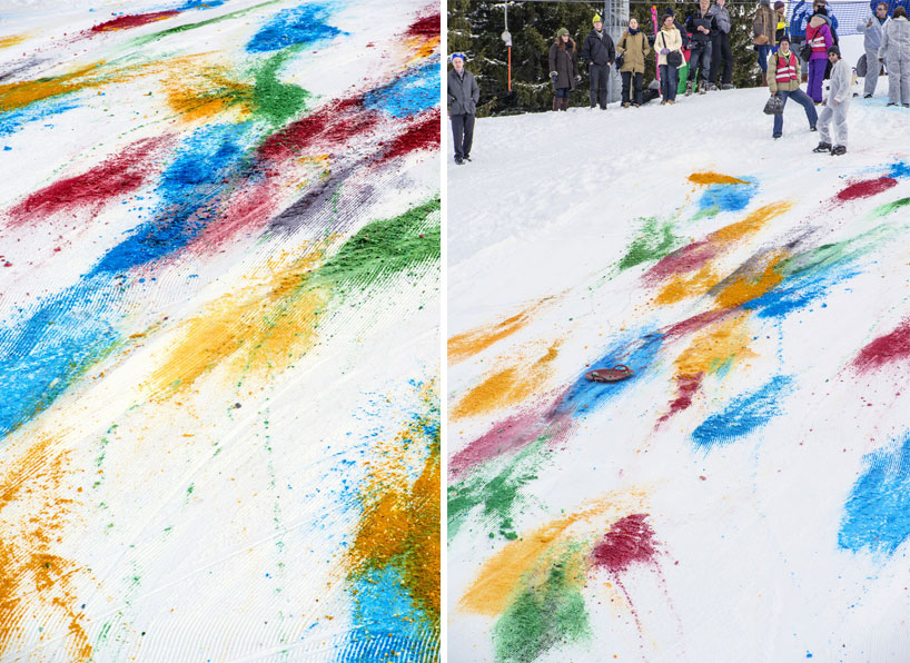 Olaf Breuning Colors The Mountain: olaf-breuning-paints-a-mountain-for-snow-drawing-designboom-10.jpg
