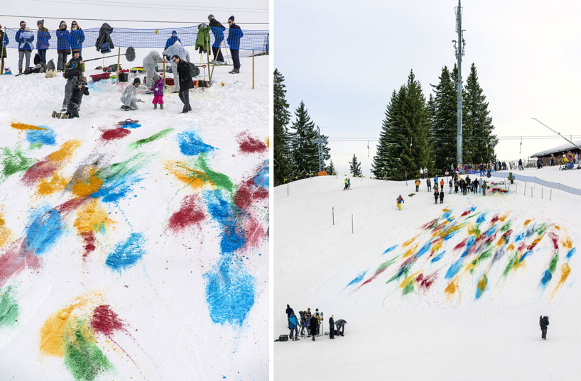 Olaf Breuning Colors The Mountain: olaf-breuning-paints-a-mountain-for-snow-drawing-designboom-25.jpg