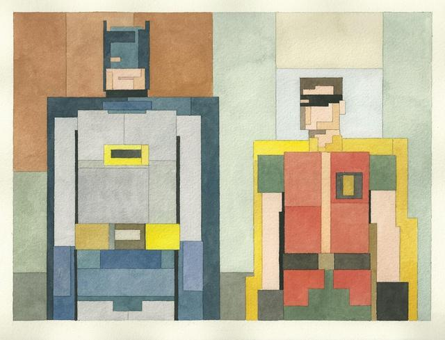 Adam Lister's 8-bit Watercolors: 8bit-batman-and-robin.jpg