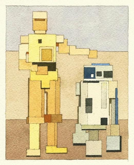Adam Lister's 8-bit Watercolors: 8bit-c3po-and-r2d2.jpg