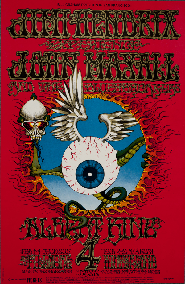 Psychedelic 1960s: The Poster Art of Rick Griffin: BG-105_Rick Griffin_Fillmore Auditorium 1968_Jimi Hendrix Experience, John Mayall-1.jpg