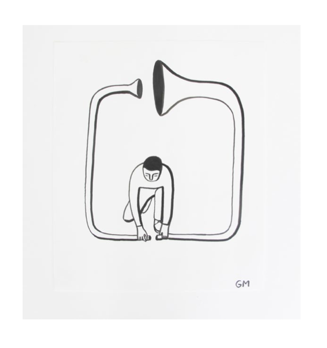 "Geoff McFetridge Drawings from ""MEDITALLUCINATION"" @ V1 Gallery, Copenhagen: Screen shot 2014-03-20 at 11.15.52 AM.png"