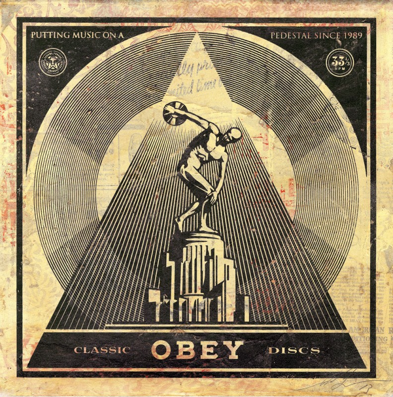 "SHEPARD FAIREY ""50 Shades of Black"" @ Subliminal Projects, LA: CLASSIC_DISCS_LP_HPM-e1395272463994.jpg"