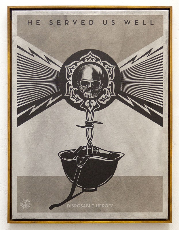 "SHEPARD FAIREY ""50 Shades of Black"" @ Subliminal Projects, LA: DISPOSABLE_HEROS_-METAL-copy-e1395272384215.jpg"