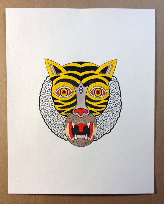 "For One Week Only: You Can Have a Made to Order Matt Leines ""Tiger Head"" Drawing: il_570xN.584431722_rfw4.jpg"