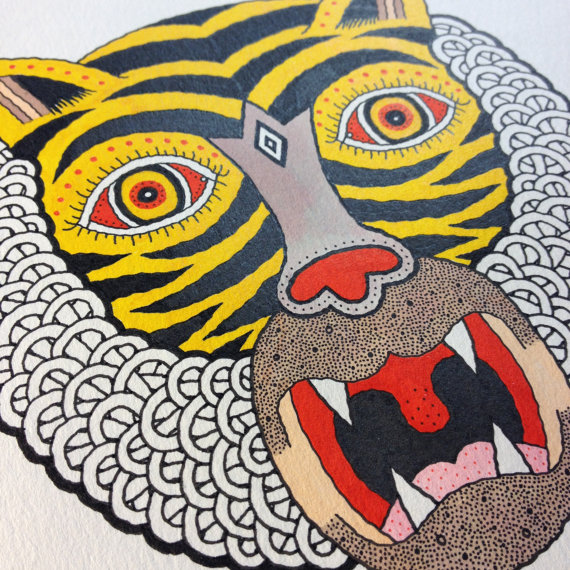 "For One Week Only: You Can Have a Made to Order Matt Leines ""Tiger Head"" Drawing: il_570xN.584542351_e9f1.jpg"