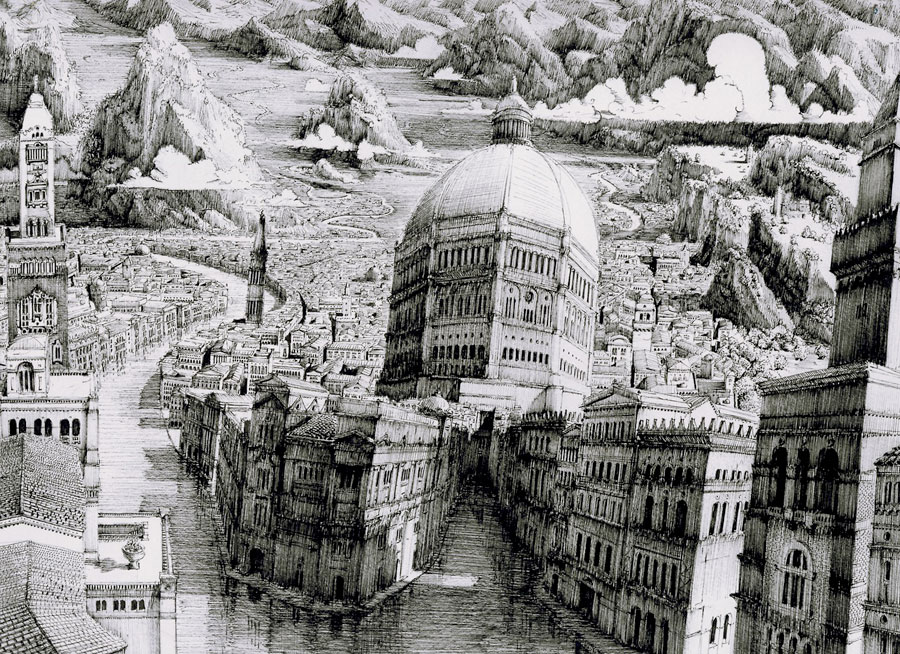 Benjamin Sack Draws Complex Imaginary Cityscapes: JuxtapozBenSack02.jpg