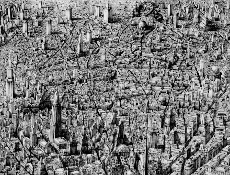 Benjamin Sack Draws Complex Imaginary Cityscapes: JuxtapozBenSack03.jpg