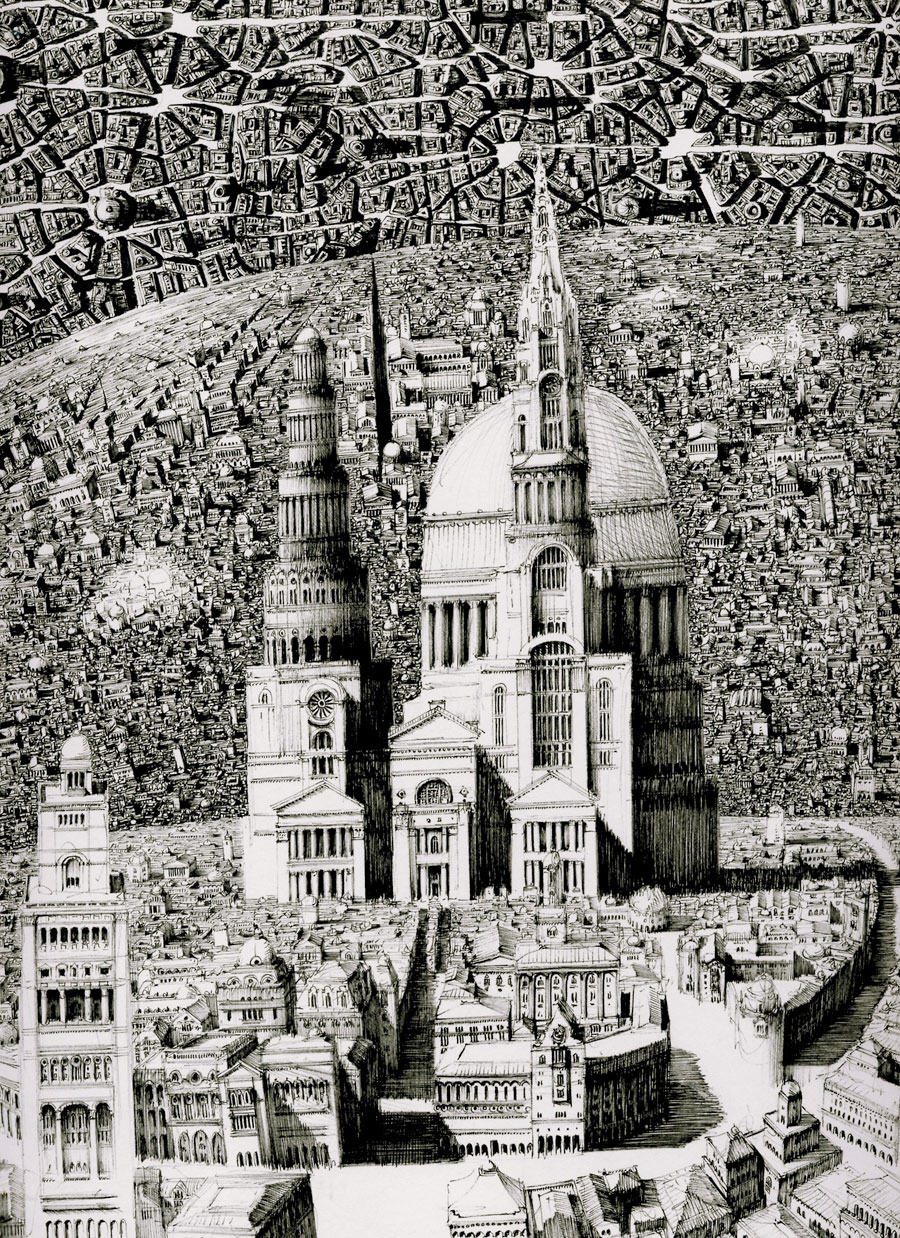 Benjamin Sack Draws Complex Imaginary Cityscapes: JuxtapozBenSack05.jpg