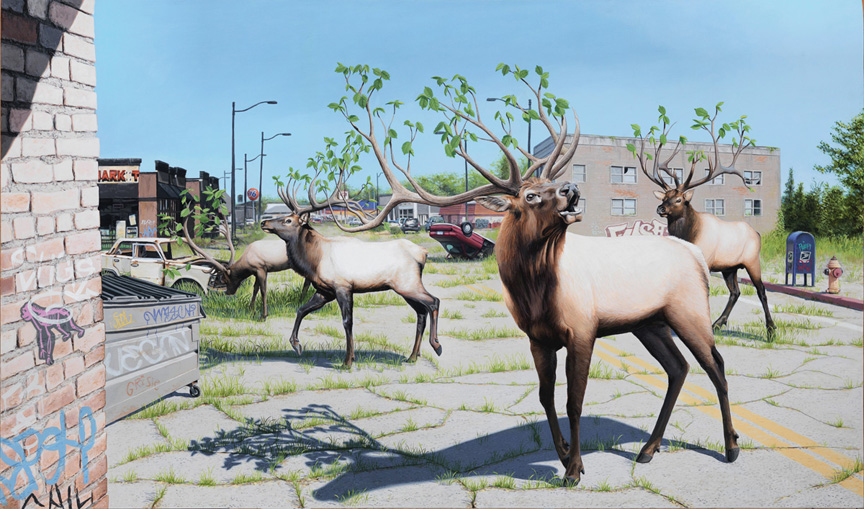 Happy Earth Day: New Paintings from Josh Keyes: Roaming Woods NP.jpg