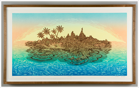 Gorgeous Woodblock Prints from The Tugboat Printshop: desertisland_framed2.jpg