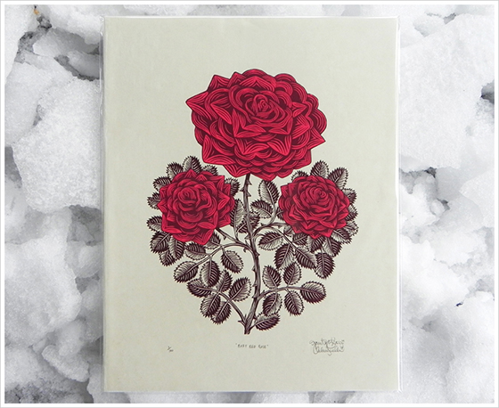 Gorgeous Woodblock Prints from The Tugboat Printshop: rubyredrose_print_snow.jpg