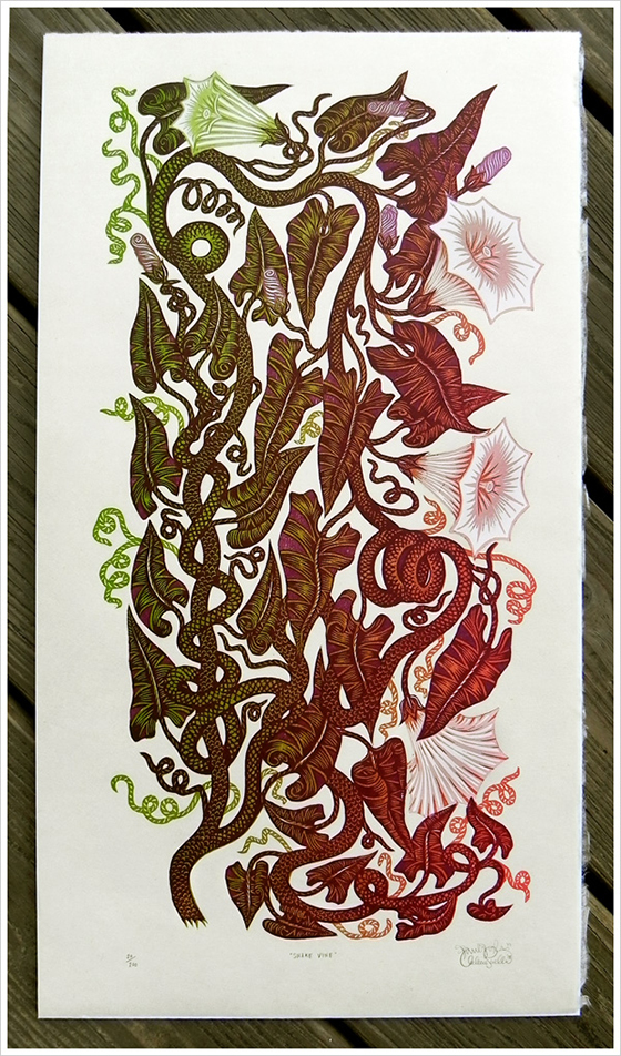 Gorgeous Woodblock Prints from The Tugboat Printshop: snakevine_woodcut_new.jpg