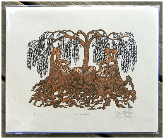 Gorgeous Woodblock Prints from The Tugboat Printshop: woodenchairs_woodcutprint.jpg