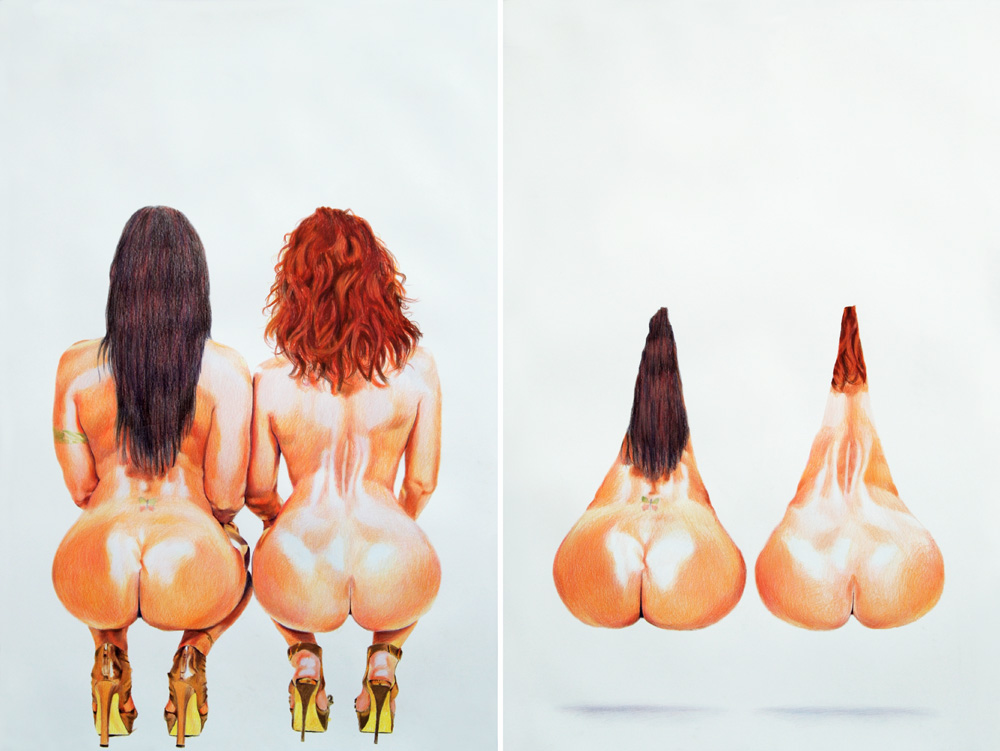 Eric Yahnker's Odd Erotica: 2013_2butts_2nuts_90x30_diptych(v2).jpg