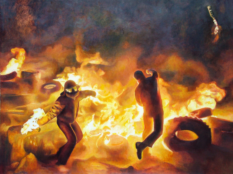Riot Paintings by David Molesky: 2014-MolotovToss30x38.jpg