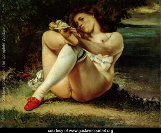 Gustave Courbet's Classical Erotica: Woman-in-White-Stockings,-c.1861.jpg