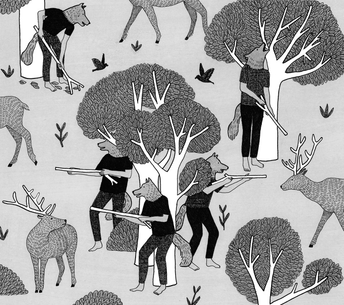 The Illustrative Works of Marion Fayolle: loup-definitif-n-b.jpg