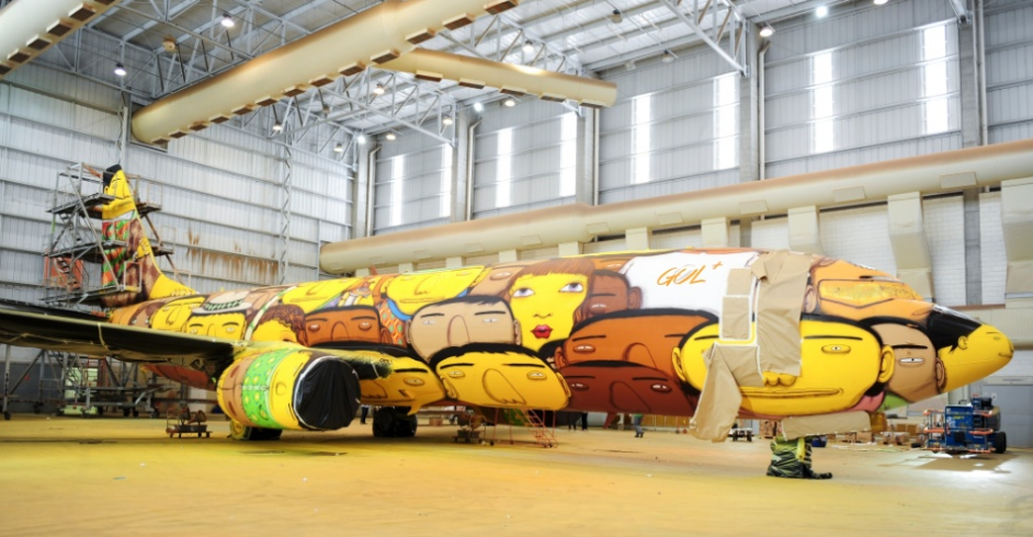 Os Gemeos Paints the Brazilian National Team's Plane: Screen Shot 2014-05-26 at 10.02.41 AM.png