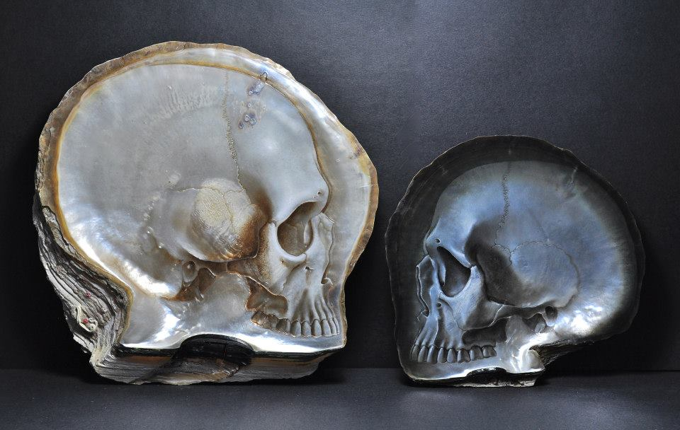 Gregory Halili's Carved Mother of Pearl Skulls: JuxtapozGregoryHalili002.jpg