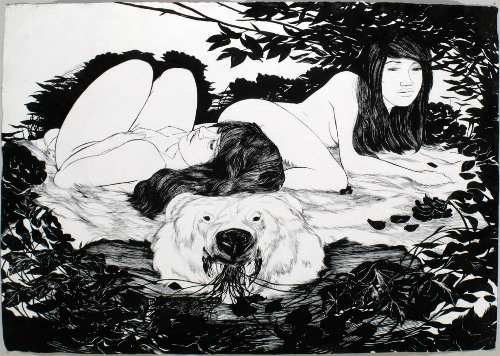 Sensual Sumi Ink Paintings from Ray Jones: Winter_Nest_by_Ray_Jones-1024x730.jpg