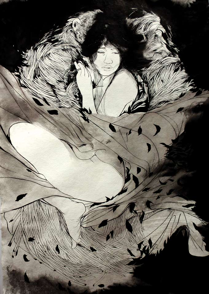 Sensual Sumi Ink Paintings from Ray Jones: a_atwar_72.jpg
