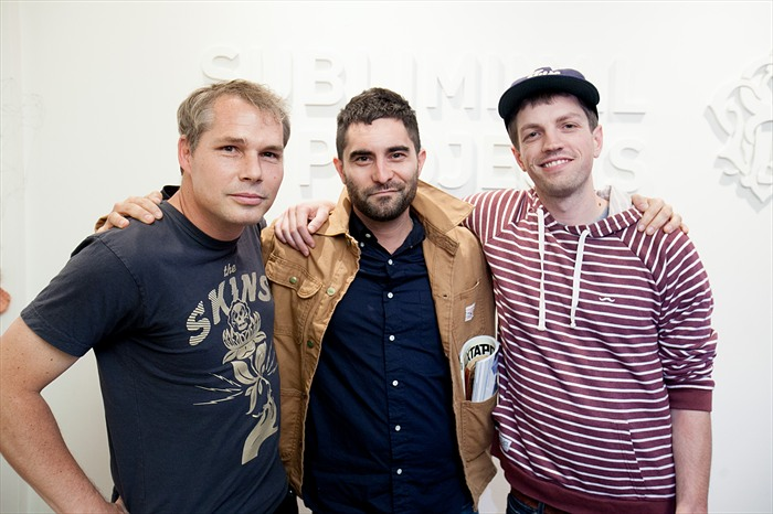 "Opening: Monica Canilao ""Born From Ruins"" @ Subliminal Projects, LA: Shepard-Fairey-Evan-Pricco-Alex-Nicholson.jpg"