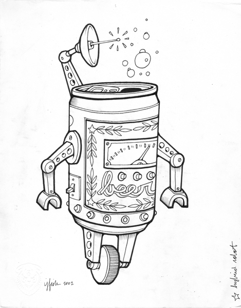"Juxtapoz x Adobe: Jeremy Fish's Yesterdays and Tomorrows ""Drawings"": 2002 HYBRID ROBOT.jpg"