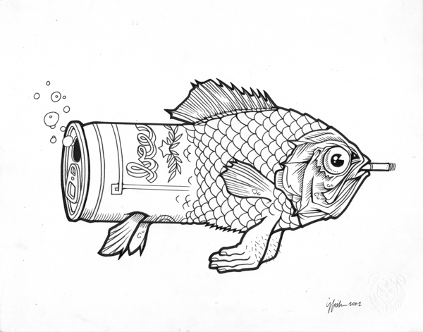 "Juxtapoz x Adobe: Jeremy Fish's Yesterdays and Tomorrows ""Drawings"": 2002 ORIGINAL BEERFISH.jpg"