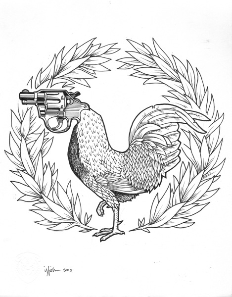 "Juxtapoz x Adobe: Jeremy Fish's Yesterdays and Tomorrows ""Drawings"": 2005 ROOSTER GUN.jpg"