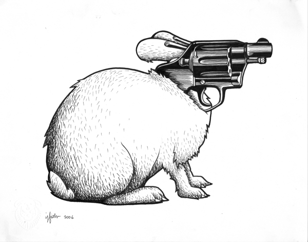 "Juxtapoz x Adobe: Jeremy Fish's Yesterdays and Tomorrows ""Drawings"": 2006 GUN BUNNY.jpg"