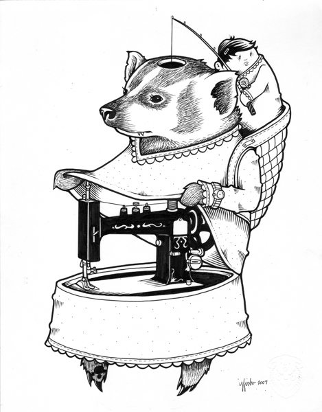 "Juxtapoz x Adobe: Jeremy Fish's Yesterdays and Tomorrows ""Drawings"": 2007 CRAFTY BADGER.jpg"