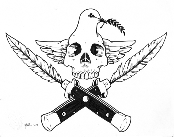 "Juxtapoz x Adobe: Jeremy Fish's Yesterdays and Tomorrows ""Drawings"": 2007 PEACE WEAPONS.jpg"