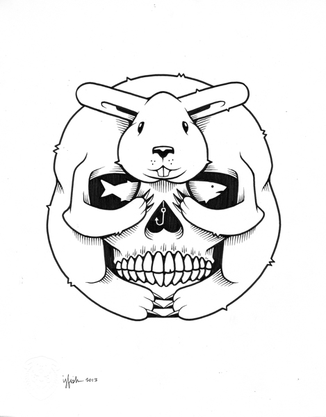 "Juxtapoz x Adobe: Jeremy Fish's Yesterdays and Tomorrows ""Drawings"": 2013 BUNNY SKULL.jpg"